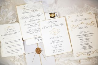 wedding-invitation-suite-white-gold-black-calligraphy-monogram-wax-seal-classic-traditional