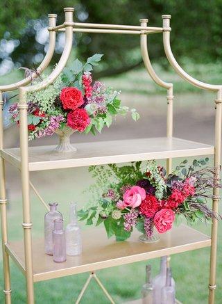 gold-bookshelf-colorful-flowers-vases-california-boho-chic-wedding-styled-shoot-details-unique