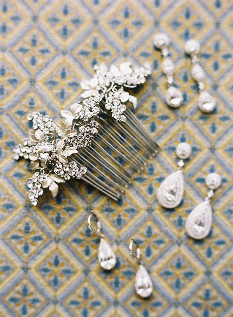 Diamond Earrings & Crystal Hair Comb