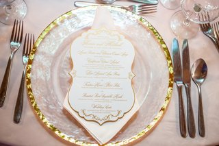 class-charger-gilt-rim-gold-white-menu-calligraphy-sophisticated-setting-culinary-choices-wedding