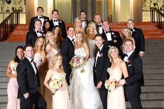 bridesmaids-and-groomsmen-outside-on-stairs