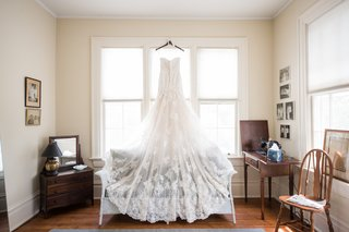 strapless-lace-wedding-dress-with-long-lace-train
