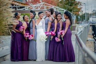 bride-in-berta-wedding-dress-bridesmaids-in-purple-bridesmaids-in-slate-grey