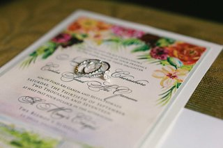 tropical-wedding-invitation-colorful-flowers-solitaire-diamond-engagement-ring-pave-diamond-band