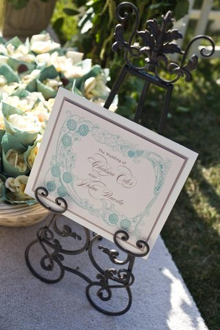 aquamarine-art-design-on-wedding-ceremony-signage