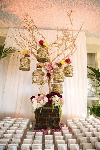 escort-card-table-display-gold-bird-cages-on-tree-branch