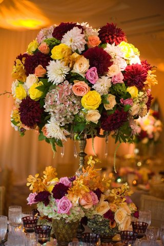 dahlia-rose-hydrangea-wedding-flower-arrangement