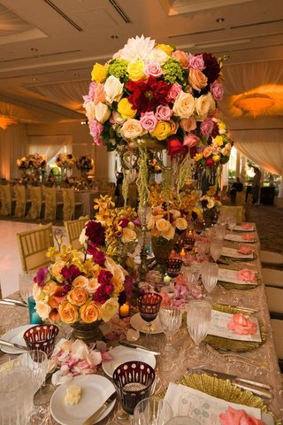 colorful-flower-centerpieces-on-vintage-wedding-table