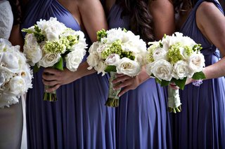 white-rose-wedding-flowers-with-green-hydrangea-for-bridesmaids