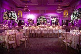 purple-ballroom-wedding-reception-with-classic-decorations