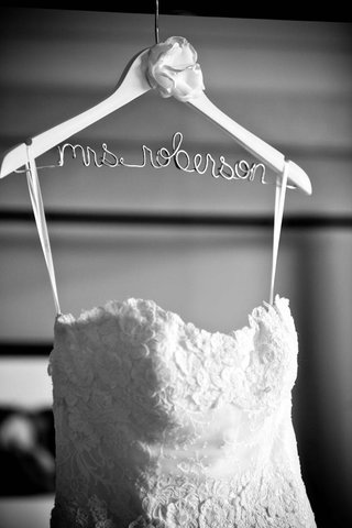 black-and-white-photo-of-personalized-wire-hanger