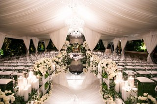 wedding ceremony gorgeous white decor flowers with mirror aisleway geller events the hidden garden