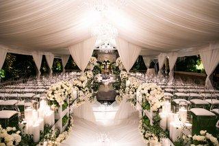 wedding ceremony gorgeous white decor flowers with mirror aisleway geller events the hidden garden