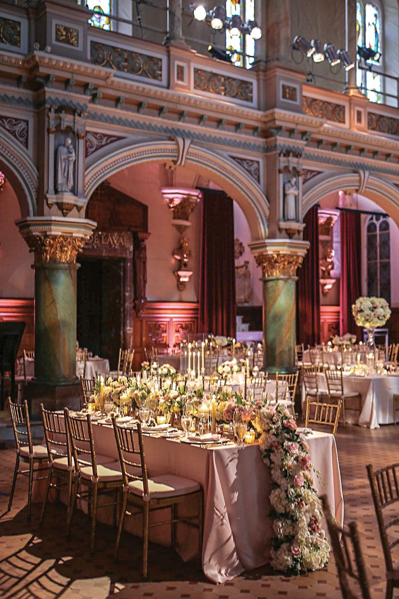Glamorous Reception with Rectangular Table