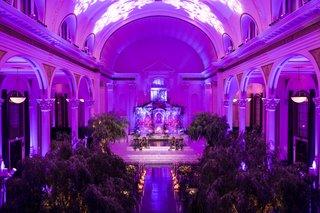 seattle-mariners-marc-rzepczynskis-wedding-vibiana-wedding-purple-lighting-pattern-projected