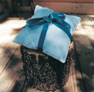 blue-wedding-ring-pillow-with-ribbon-on-tree-trunk