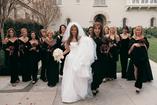 white-vera-wang-wedding-dress-and-black-bridesmaid-dresses