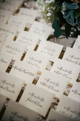 wedding-reception-sparkle-linen-sequin-with-calligraphy-on-escort-cards-traditional