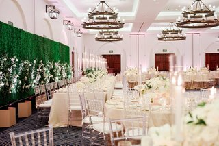 ojai-valley-inn-ballroom-wedding-reception-with-faux-hedge-wall-and-industrial-chandeliers