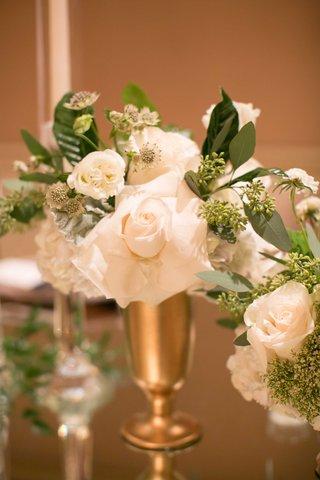 miniature-floral-arrangements-gold-vessel-green-white-reception-decor-california-modern-wedding