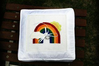 rainbow-design-on-stitched-ring-pillow-for-wedding