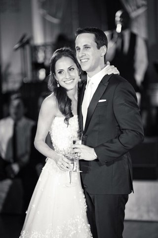 black-and-white-portrait-of-bride-and-groom-at-reception