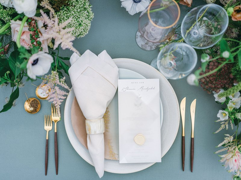 Elegant Place Setting with Two-Tone Flatware