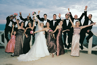 silly-couple-with-bridesmaids-groomsmen-flower-girl-and-ring-bearer