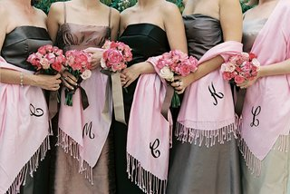 brown-and-black-gowns-with-pink-shawls