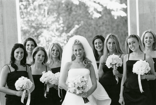 black-and-white-bride-and-bridesmaids-in-black-dresses