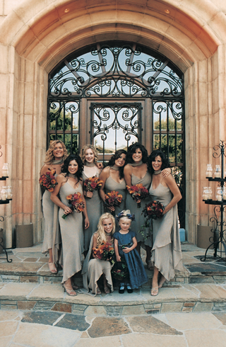 bridesmaids-in-sand-colored-gowns