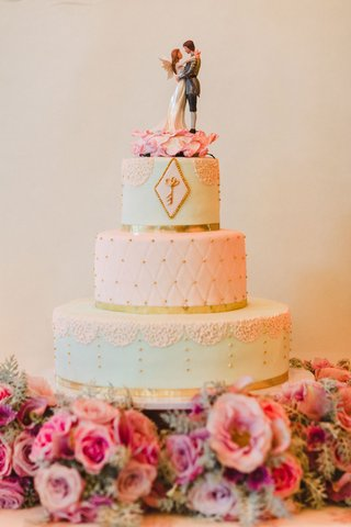 wedding-cake-with-key-and-fairy-wing-cake-topper-gold-border-light-blue-light-pink-vintage-inspired