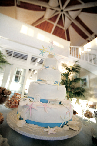 white-cake-with-blue-ribbons-and-seashell-decorations