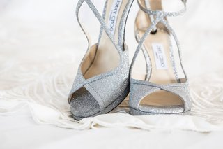 wedding ensemble shoes silver glitter jimmy choo heels peep toe ankle strap
