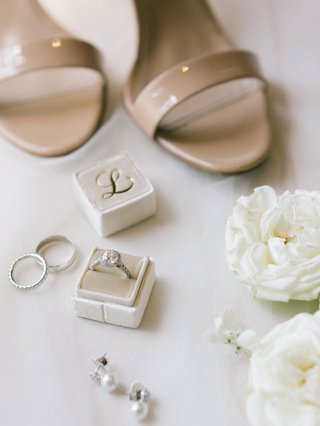 wedding-accessories-white-flowers-tan-sandals-heels-velvet-mrs-box-initial-halo-engagement-ring
