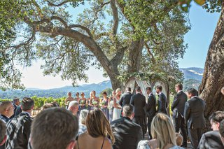 bride-and-groom-exchanging-vows-with-bridesmaids-groomsmen-and-guests-watching-vineyard-wedding