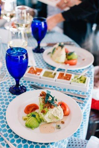 detriot-lions-quarterback-matthew-stafford-rehearsal-dinner-food-tex-mex-salsa-tasting-blue-linens