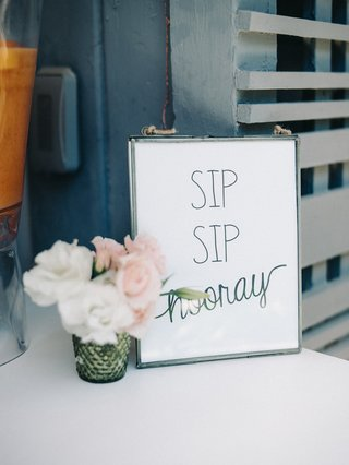 engagement-party-inspiration-bar-sign-reading-sip-sip-hooray-minimalist-decor