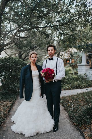 alex-kuznetsov-in-navy-tuxedo-bride-in-liancarlo-wedding-dress-ruffled-skirt-bride-in-suit-jacket