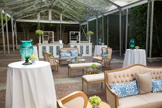 blue-and-white-wedding-decor-southern-inspired-wedding-lounge-area-cocktail-tables