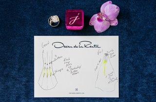 wedding-dress-instruction-card-oscar-de-la-renta-designer-helpful-writing-salon-bride