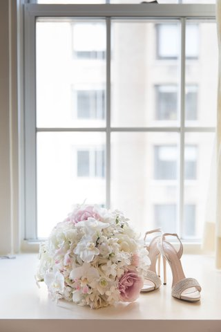 giuseppe-zanotti-sandal-wedding-heels-bouquet-with-orchid-pink-rose-white-stephanotis-blossom
