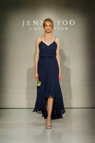 jenny-yoo-bridesmaids-2016-high-low-v-neck-navy-blue-bridesmaid-dress