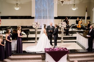 wedding-ceremony-at-baptist-church-bridesmaids-and-groomsmen-string-quartet-officiant