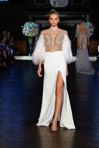 alon-livne-white-fall-2016-sheer-beaded-bodice-with-ostrich-feather-sleeves-and-slit-silk-crepe-skir
