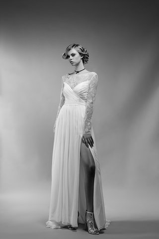 black-and-white-photo-of-nadia-wedding-dress-by-ivy-aster-high-slit-deep-v-back-lace-long-sleeves