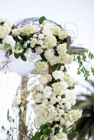 corner-wooden-chuppah-white-flowers-greenery-rustic-seaside-wedding-ceremony-vines