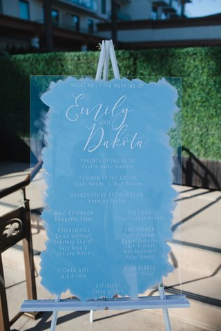 wedding-ceremony-sign-white-calligraphy-acrylic-lucite-on-easel-blue-brushstroke-design