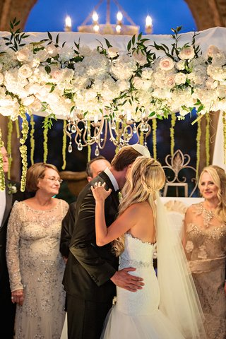 mothers-at-jewish-wedding-wear-light-gold-janique-dresses-with-sheer-necklines-and-sequins