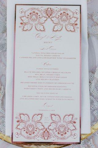 cheryl-burke-and-matthew-lawrence-wedding-menu-lehr-and-black-pink-flower-design-also-seen-on-cake